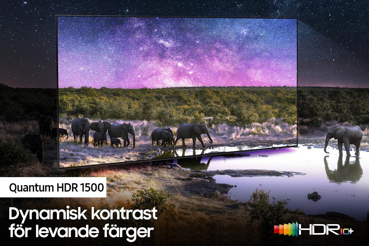 Samsung QN85 HDR 1500 - dynamisk kontrast för levande färger