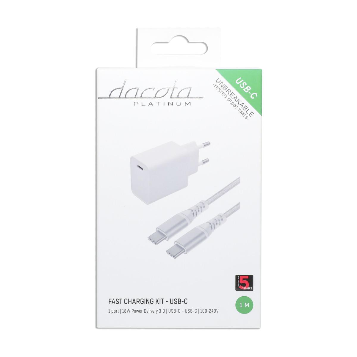 DACOTA PLATINUM USB VEGGLADER 2,4 A 1 PORT HVIT Power.no